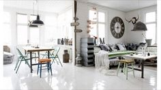 Industrial furniture in a white bliss