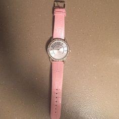 Anne Klein watch Worn twice, beautiful Anne Klein pink snakeskin watch. Super comfortable and cute with rhinestones around face. Needs a new battery Anne Klein Jewelry Bracelets