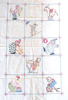 Circus Panel Vintage Embroidery by IamSusie, via Flickr