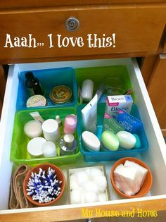 Organized bathroom cabinets!  - My House and Home