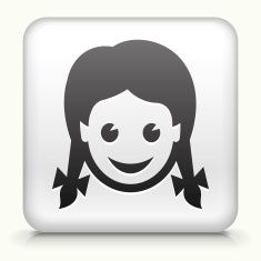 Square Button with Girl royalty free vector art vector art illustration