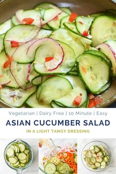 10 Minute Asian Cucumber Salad Recipe made with crunchy cucumber, onion, rice wine vinegar, and a few secret ingredients! An easy Cucumber Salad that's guaranteed to be a hit. Light, refreshing and su Asian Cucumber Salad, Cucumber Recipes, Healthy Salad Recipes, Vegetable Recipes, Cucumber Salad Vinegar, Cucumbers In Vinegar, Recipe For Cucumber Salad, Recipes With Cucumbers, Cucumber Chutney