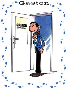 Gaston Lagaffe's first appearance, Journal de Spirou (ill. Copyright (c) 1957 Dupuis and the artist; colors by Spirou Reporter after Rombaldi Franquin intégrale) Gaston, Comic Strips, Cartoons, Journal, Illustrations, Comics, Artist, Cartoon, Animated Cartoon Movies
