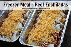 Freezer Meal Recipe, Beef Enchiladas, Ground beef recipes, Freezer Meals, beef freezer meals, easy freezer meals, once a month cooking, meal prep