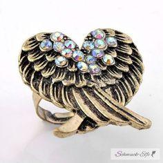 Engelsflügel Ring antik gold mit Strass im...