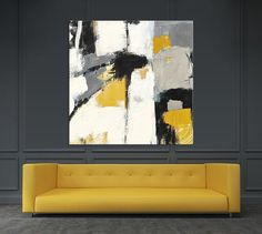 "Clicart 54 in. x 54 in. ""Yellow Catalina I"" by Mike Schick Printed Framed Canvas Wall Art - The Home Depot Contemporary Abstract Art, Abstract Wall Art, Modern Contemporary, Canvas Frame, Canvas Wall Art, Large Canvas Art, Canvas Prints, Framed Wall Art, Wall Art Decor"