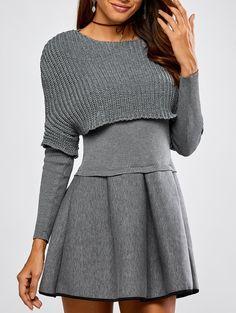 Fall Cropped Knitwear+Umbrella Dress in Gray | Sammydress.com