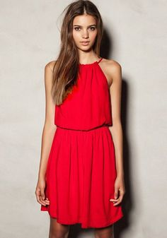 Vestido llano de cuello redondo sin mangas dacrón rojo