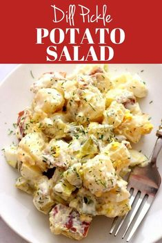 Nov 2019 - Dill Pickle Potato Salad Recipe - a creamy potato salad with pickles and eggs, tossed with creamy dill dressing. Perfect side dish for Summer grilling and barbecuesor picnics! Dill Pickle Potato Salad Recipe, Egg Salad Recipe With Relish, Best Potato Salad Recipe, Creamy Potato Salad, Potato Salad With Egg, Dill Recipes, Salad Recipes, Bbq Chicken Pizza, Salads