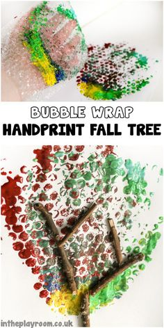 Bubble wrap hand print fall tree easy arts and crafts project for kids. You can adapt this for any season just change the colours!