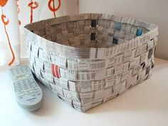 Newspaper basket | How About Orange  (good instructions for paper basket weaving -- for our Kaya unit)
