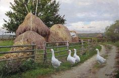 Children's Art Paintings – Viral Gossip Art Canard, Painting Gallery, Beginner Painting, Russian Art, Green Life, Texture Painting, Animal Paintings, Country Life, Country Farm