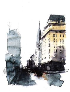 Urban sketchers show the world, one drawing at a time. Watercolor Architecture, Architecture Drawings, Watercolor Landscape, Sketch Painting, Watercolor Sketch, Watercolor Paintings, Watercolours, Urban Sketchers, Urban Art