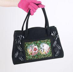 50s Caron di Houston nero borsetta con mano di denisebrain su Etsy, $48.00