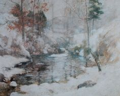 "John Twachtman, ""Winter Harmony,"" c 1890-1900, oil on canvas, 25 3/4 x 32 in, National Gallery of Art, Washington"