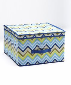 Blue & Green Zigzag Jumbo Storage Box | something special every day