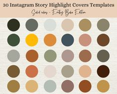 30 Earth Tone and Boho Palette Solid Instagram Story Highlight   Etsy Pink Palette, Image Icon, Color Palate, Social Media Icons, Story Highlights, Text Color, Earth Tones, Instagram Story, Colorful Backgrounds
