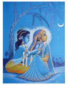 Radha Krsna original Zeichnung Mondnacht Bleistiftzeichnung Syamarts Porträt der göttlichen Liebe devotional Kunst Indien Vedische Kunst