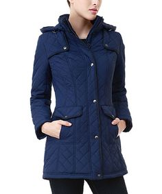 Another great find on #zulily! Navy Anne Quilted Coat - Women #zulilyfinds