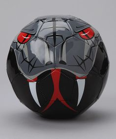 This is a cool, black, red football soccer ball. I like this because  i really like soccer and this soccer ball looks cool. The ball has a picture of a snake. It has a price of three hundred and ten pesos