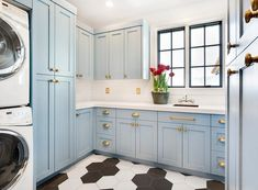 Gorgeous Blue And White Laundry Room Features Black Mixed Hexagon Floor Tiles Complementing