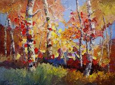 Artists Of Texas Contemporary Paintings and Art - Autumn Carnival birch tree oil painting by Niki Gulley - Just Sold