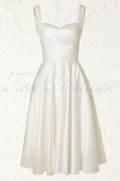 Unique Vintage - 50s Happily Ever After Dress in Ivory -- @candysland441 this one would be cute at the rehearsal too.