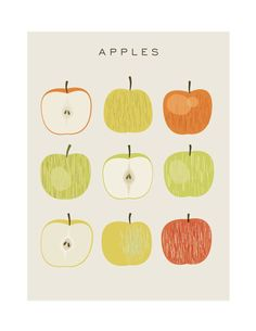 Apples Original Illustrated Digital Image for by MandarinaPrint Hen Chicken, Rifle Paper, Paper Cutting, Digital Image, Art Inspo, Squares, Bullet, Collage, Sticker