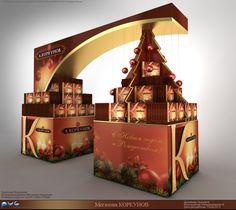 Korkunov cardboard stand by Nikolay Grachev, via Behance Pos Design, Retail Design, Stage Design, Pos Display, Display Design, Promotion Display, Trade Show Design, Supermarket Design, Cardboard Display
