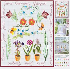 June Flowers free cross stitch pattern (Anchor)