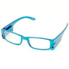 fun led light up frame clear lens reading eye glasses eyeglasses turquoise 225 sk hat