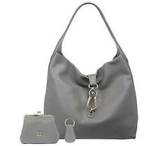 Dooney & Bourke Leather Hobo with Logo Lock andAccessories - QVC.com