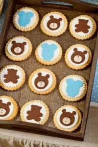 Blue and Brown Bear Baby Shower Cookies