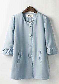 Blue Plain Falbala Chiffon Trench Coat - Outerwears - Tops