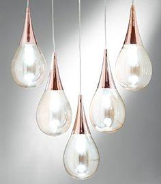 NEG Design Hängeleuchte Goccia 5 - Glas-Tropfen und Kupfer in perfekter Kombination - Unsere Goccia-Serie - echte Highlights: Amazon.de: Beleuchtung
