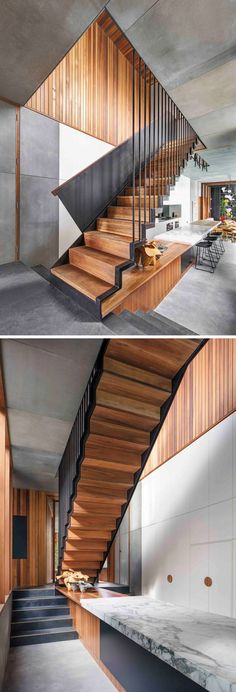 This modern house has wood and steel stairs that lead to the upper floor of the home.