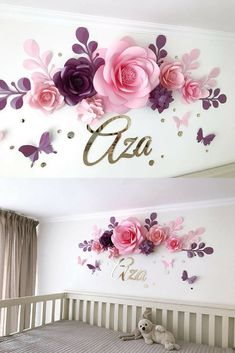 This pretty cool idea of decorating the wall with paper flowers ( and name or number) seems to me very creative. Nursery Paper Flowers - Paper flowers over the crib - Baby Girl Room Paper Flowers - Baby Room Wall Decor #baby #nursery #decor #art #flowers #aza #affiliate