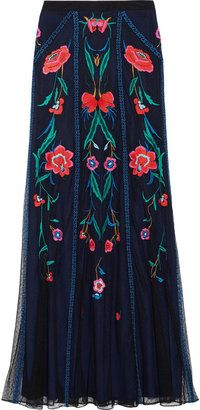 ShopStyle: Temperley London Eliah embroidered tulle maxi skirt