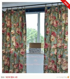 WHITE SALE Pair of Bold Floral Designer Fabric Curtains for Bedrooms, Shabby Chic, Living rooms, Kids/little girls bedroom, Nursery