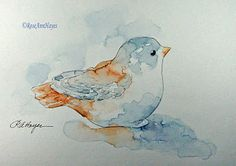 Daily Watercolors: Bought some ceramic baby bird figurines in hopes o...