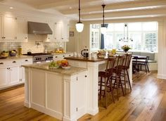 Classy Kitchen White Kitchen Islands with Seating. Love the seating alcove