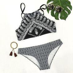 Cupshe Light As a Feather Black Tank Bikini Set