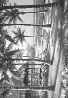 Coloring for adults - Kleuren voor volwassenen Landscape Pencil Drawings, Pencil Sketch Drawing, Pencil Art Drawings, Art Drawings Sketches, Pencil Shading Scenery, Drawing Scenery, Photo Collage Maker, Sketch Tattoo Design, White Art
