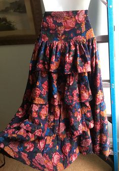1980s Laura Ashley Floral skirt with tiered Victorian style bustle