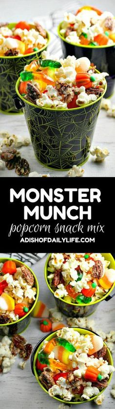 Monster Munch Popcorn Snack Mix is a fun Halloween snack for both kids and adults. Everyone will love the mix of kettle corn, pumpkin pie spice candied pecans, and you can customize it with your favorite Halloween candies!