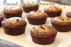 "Peanut Butter Brownie Cups - One pinner said, ""The easiest, fastest and best dessert ever!"""