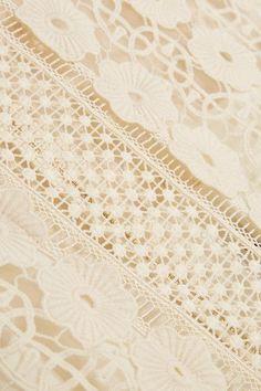 Self-Portrait - Guipure Lace, Crepe And Tulle Mini Dress - Cream - UK14