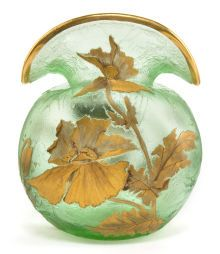 MONT JOYE GREEN TEXTURED GLASS VASE WITH APPLIED GILTDECORATION  - circa 1900.