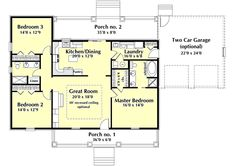 Amazing Country Style House Plans   1629 Square Foot Home , 1 Story, 3 Bedroom And