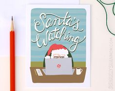"""Funny Christmas Card """"Santa's Watching"""" Greeting Card by seriouslyshannon on Etsy $4.50"""